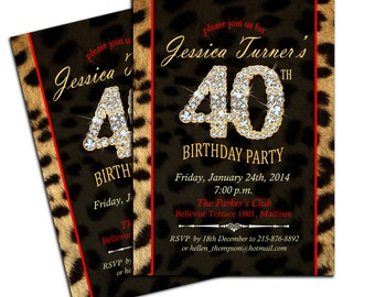 Leopard Print 40th Birthday Party Invitation / Any Age / Cheetah Invite / Digital Printable Invitation / Customized