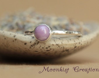 Orchid Purple Gemstone Ring - Sterling Silver Stacking RIng - Unique Phosposiderite - Delicate Promise Ring - Stacking Ring - Unique Gift