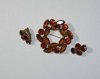 Weiss  Brooch Set, Browntone Brooch, Brooch Earring Set, Rhinestone Jewelry