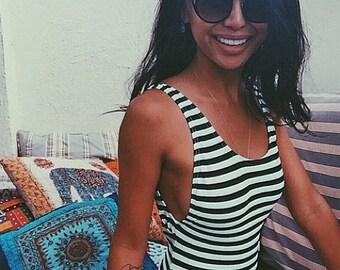 New HIGH cut swimwear ∆ NEW ∆ Nautical black & white stripe ∆ 90s One-piece Swimwear ∆ One piece High Cut Swimsuit ∆ Hi-cut One Piece