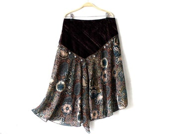 Floral Blue Brown Velvet Patchwork Ruffle Boho Hippie Asymmetric Midi Skirt Size M/L