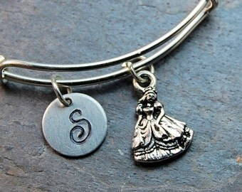 Princess Initial Bangle, Princess charm, Charm bangle, Expandable bangle, Personalized bracelet, Monogram, stamped bracelet
