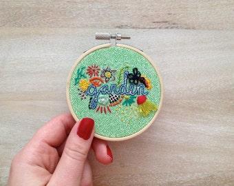 3 inch - Garden - Hand Embroidered Hoop Wall Art