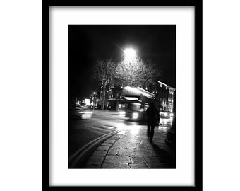 Black and white, street photography, night pictures, black and white print, ireland photography, night photography, black and white art