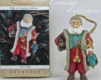 1996 Hallmark Santa's Gifts Ornament Folk Art Americana Collection Santa Claus Showcase Keepsake Jingle Bells Train Angel