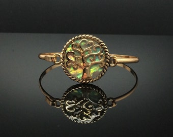 Stunning Abalone Tree of Life Gold Bangle Bracelet, Gold-Tone Bangle Bracelet, Thank You Gift, Birthday Gift