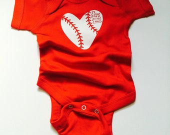 I Heart St Louis Cardinals Baseball Baby Onesie \\ Optional Custom Name on Back
