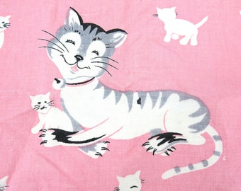 Vintage C. P. Meier Linen Kitchen Towel, Pink Cats and Dogs, Dalmatians Kittens & Puppies, 50's Kitchen Towel