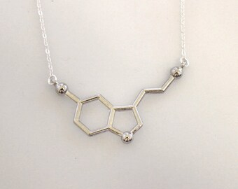 Silver Serotonin Molecule Necklace, Chemistry Necklace, Hormone Serotonin, Biochemistry Molecule Happiness Signal Pendant Biology