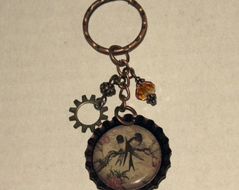 Beaded Bottlecap Keychain - Swallows on a Branch