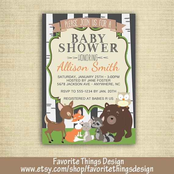 woodland animals baby shower invitation animal themed baby shower