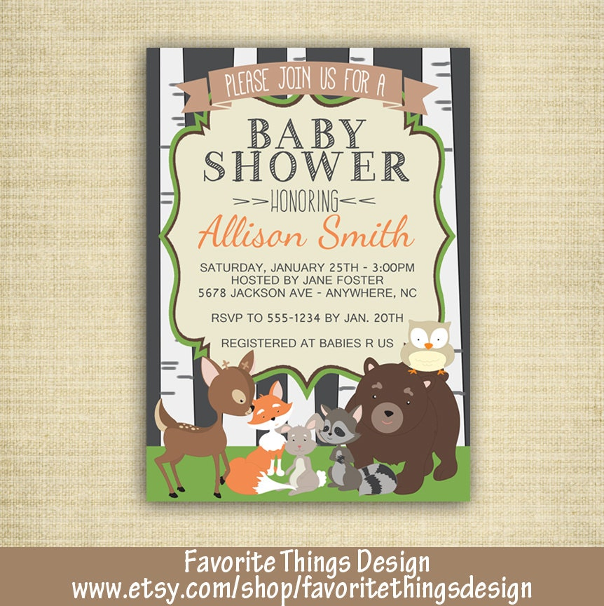woodland animals baby shower invitation animal themed baby