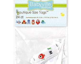 New Babyville boutique Size Tags for Boys, 6 of each xs, s, m,l. 24ct. Item is new.