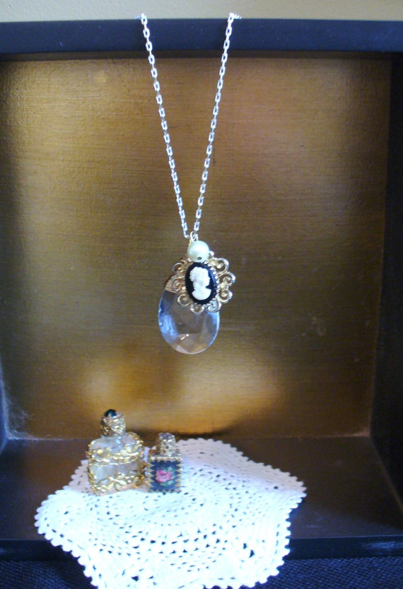 Wire Wrapped Vintage Chandelier Crystal, Vintage Cameo, and Creamy Pearl Necklace on a Gold and White Chain