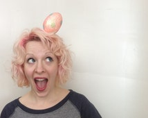 RTS Giant Peach Pink Polka Dot Easter Egg Fascinator, Easter bonnet, Costume, Burlesque, Mini Hat, Kitschy Easter Bonnet