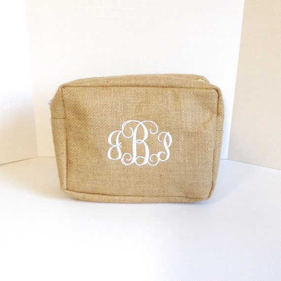 Set of Three Monogrammed Burlap Makeup Bags, Personalized Jute Cosmetic Bag, Makeup Pouches, Bridesmaids Gifts, Bridal Shower Gifts