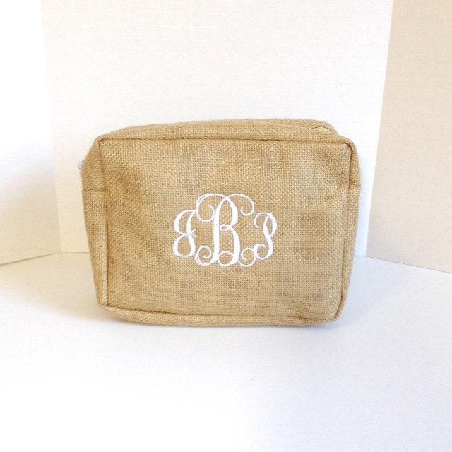 Set of Three Monogrammed Burlap Makeup Bags Personalized Jute