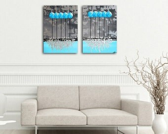 "Metal Wall Art, Silver Metallic Painting, Teal Painting, Turquoise Painting, Textured, Palette Knife ""Icicles II"" 24x32"" by SFBFineArt"