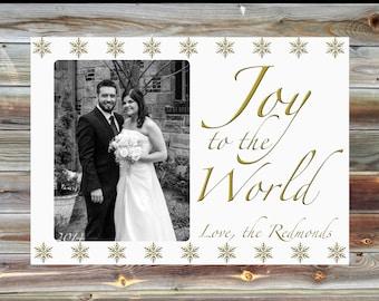 Printable Custom Holiday Christmas Card - Digital or Printed - Joy to the World Card - Photograph Holiday Card - Personalized Christmas Card