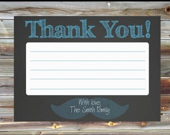 First Birthday Invitation for Boy Thank You Card - Chalkboard Boy Birthday Thank You Card - Mustache Birthday Thank You Card