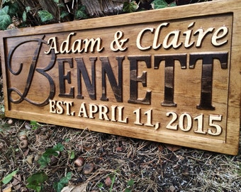 Personalized Family Name Sign Couple Wedding Gift Last Name Sign Established Sign Custom Wooden Sign Wood Plaque Personalized Sign 3D Carved