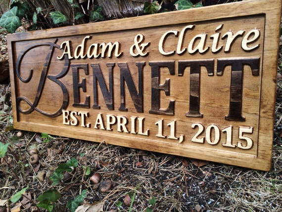personalized wedding gift last name established sign family