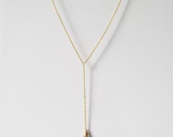 y drop necklace, drop y necklace, y shaped necklace , minimal jewelry, y necklace gold, y chain necklace, delicate necklace,