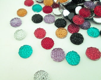 10 Multicolor 10mm Rhinestone Cabochons, Great Sparkly Cabs For DIY Bling Cases #1149