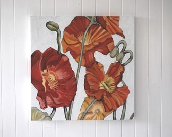 Poppies original oil painting / stretched canvas panel/ ready to hang/75 x 75cm