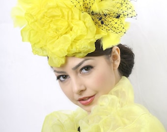 SALE!!! Kentucky derby fascinator, Royal Ascot hat, Couture hat, Wedding headpiece, Yellow fascinator, couture hat, couture millinery