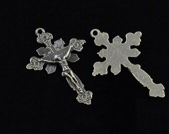 Rosary Crucifix Pendant Antique Bronze Rosary Parts Supplies Floral Motif