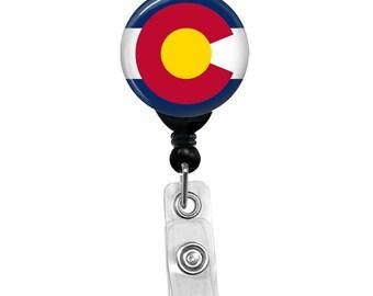 Colorado State Flag Badge Reel ID Card Retractable Custom Flag Badge Holder