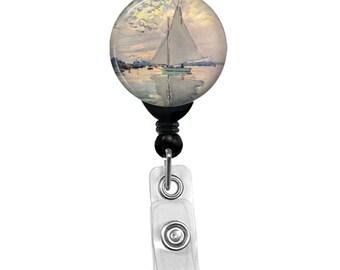 Claude Monet Sailboat Badge Reel Holder ID Card Name Retractable Badge Holder
