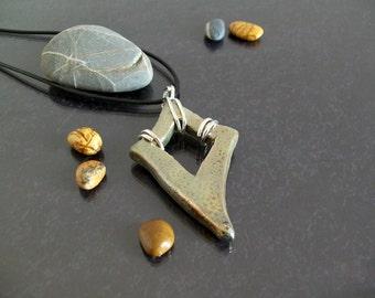 Beautiful pendant necklace ceramic raku gold and silver