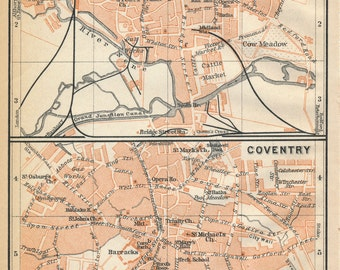 1910 Northampton and Coventry, United Kingdom (Great Britain) Antique map