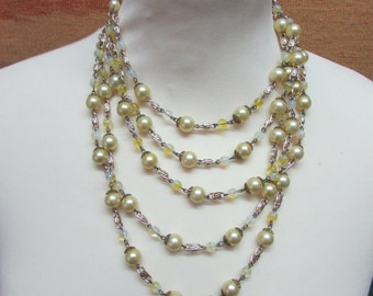 1960s multi-strand faux pearl & milky glass beaded necklace