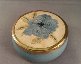 Vintage Framecraft gold silver & silk embroidered lid face cream/trinket pot