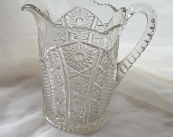 EAPG Indiana Glass Pitcher Monarch Sunburst Pattern