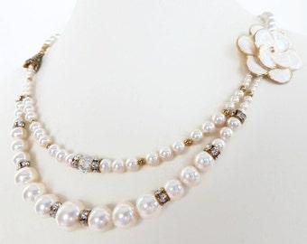 Swarovski Creamrose Pearl Necklace, Bridal Necklace, Swarovski Crystal and Pearl Choker, Crystal/Pearl Necklace, Enamel Flower Focal, ME-239