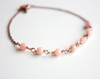 Peach Aventurine Copper Bracelet, Gemstone Bracelet, Copper Jewelry, Aventurine Bracelet, Dainty Jewelry, Layering Bracelet, Gifts for Her