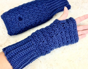 Crochet Blue Fingerless Gloves Royal Blue Wrist Warmers Soft Teen Adult Size Large Glove Women Gifts under 20 for Her Stocking Stuffer Teens