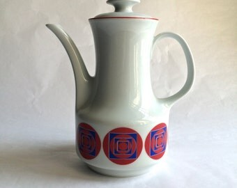 Bareuther Waldassen Bavaria Mod Geometric Teapot Red Blue and White