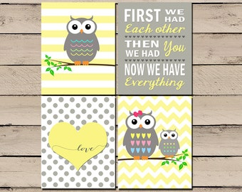 Owl Nursery Art, Owl Nursery Pictures, Owl Nursery Decor, Baby Girl Owl Nursery, Owl Nursery Print, First we had each other, Digital, DIY
