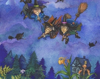 Halloween - witches painting - mounted print of original watercolour/gouache/ink painting