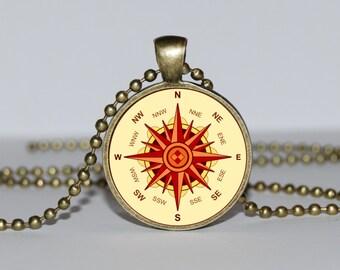 NAUTICAL COMPASS PENDANT, Wind Rose pendant, vintage compass pendant, steampunk necklace, Compass jewelry, nautical jewellery Marine Compass