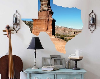 Texas Love Wall Decal- State Landscape Wall Decal by Chromantics