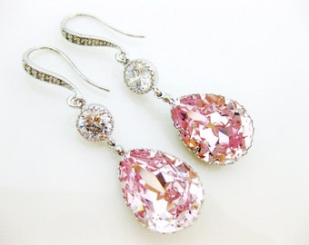Blush Pink Teardrop Earrings Swarovski Rosaline Crystal Earrings Light Pink Earrings Bridesmaids Gift Bridal Jewelry Cubic Zirconia (E172)
