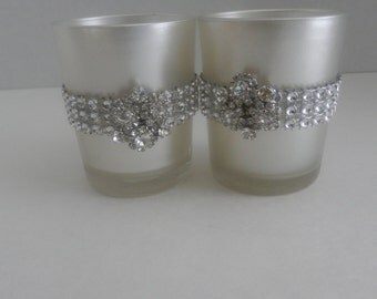 10 Wedding centerpiece, Rhinestone candle holder,  glass votive candle holder, tea light holder , wedding decoration for the reception table