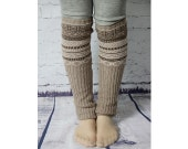 Womens and Young Girls Wool Leg Warmers in Multi Colour Boho Leg Warmers Boot  Accessories Winter Socks Khaki Knit Pattern Leg Warmer 1145