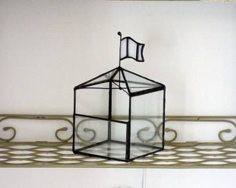 Classic House Shaped Glass Terrarium, Use As A Stained Glass Terrarium, Planter, Ring Box Or A Jewelry Box